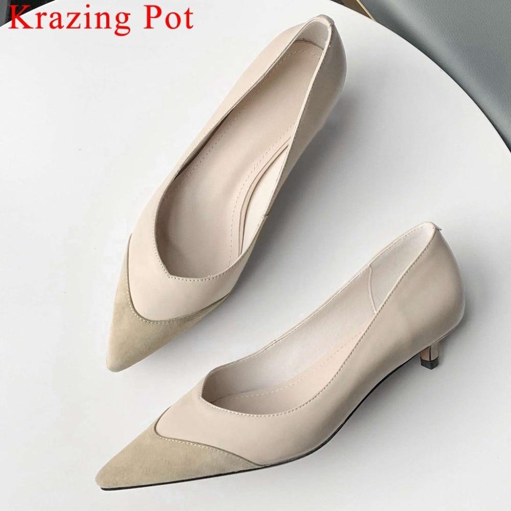 Krazing Pot echt leer kitten hakken spitse ote office lady Britse stijl elegante streetwear grote maat jurk pompen L16-in Damespumps van Schoenen op  Groep 1
