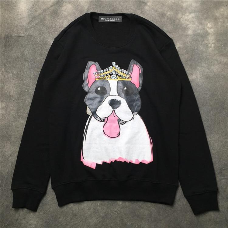 Fashion Women/men casual sweatshirts New 2018 autumn dog pattern long sleeve Hoody Tops D186