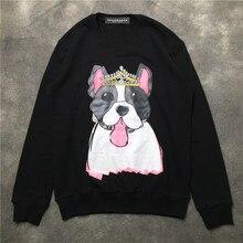 Fashion Women/men casual sweatshirts New 2018 autumn dog pattern long sleeve Hoody Tops D186 цена в Москве и Питере