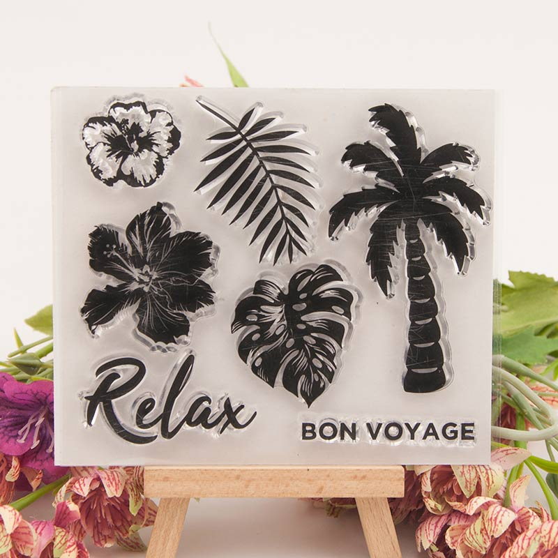 Relax Coconut Tree Rubber Clear Stamps Silicone Seals for DIY Scrapbooking Cards Making Diary Book Paper Maker Decor Stencil