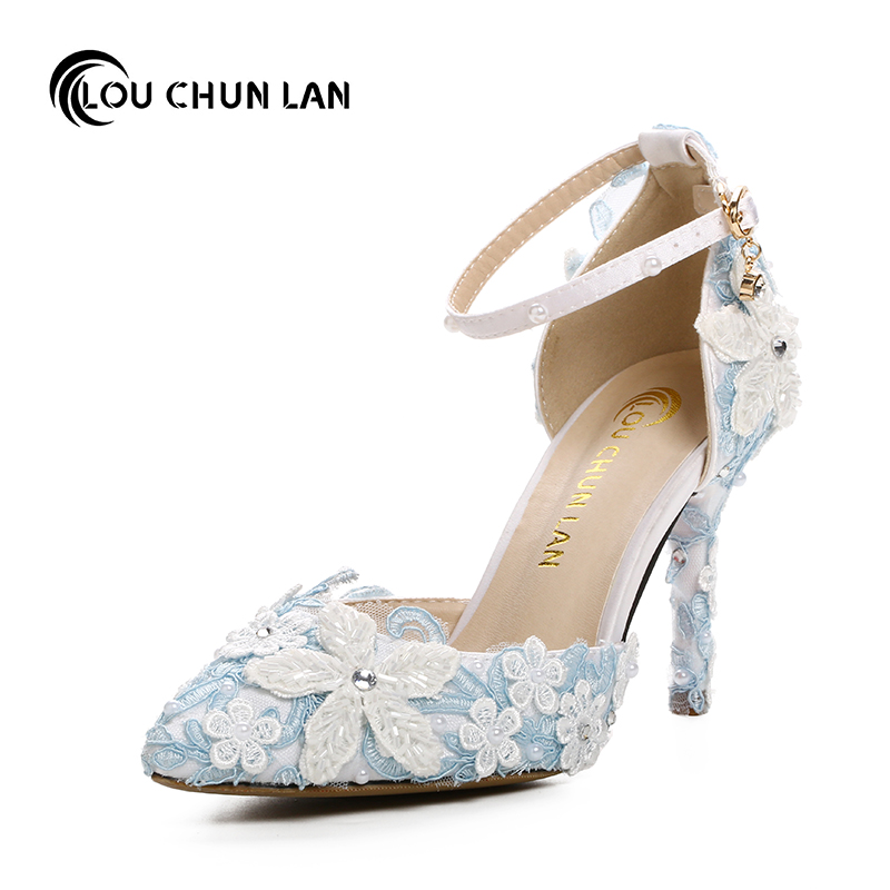 Adult Sandals Blue wedding shoes lace flower bridal shoes pointed toewhite pearl rhinestone thin high heels formal dress shoes