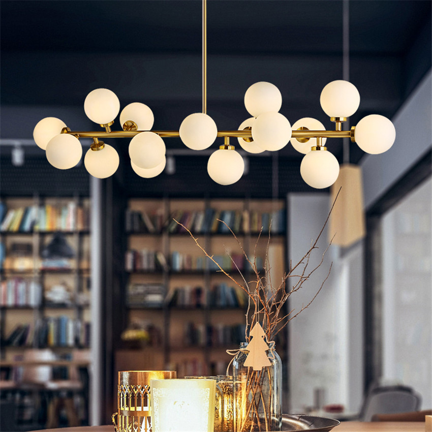 Nordic Restaurant Led Pendant Lamp with Glass Shade,Personality Modern Pendant Light for Dining Room LED Hanging Light Fixtures