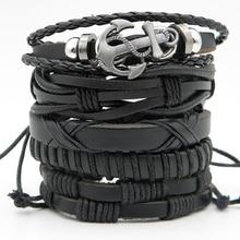 5pcs/set Stylish Men's Handmade leather Wrap Braided bracelets Vintage Punk leather Wristband Combined Hemp bracelet Xmas Gifts stylish faux leather braided bracelet