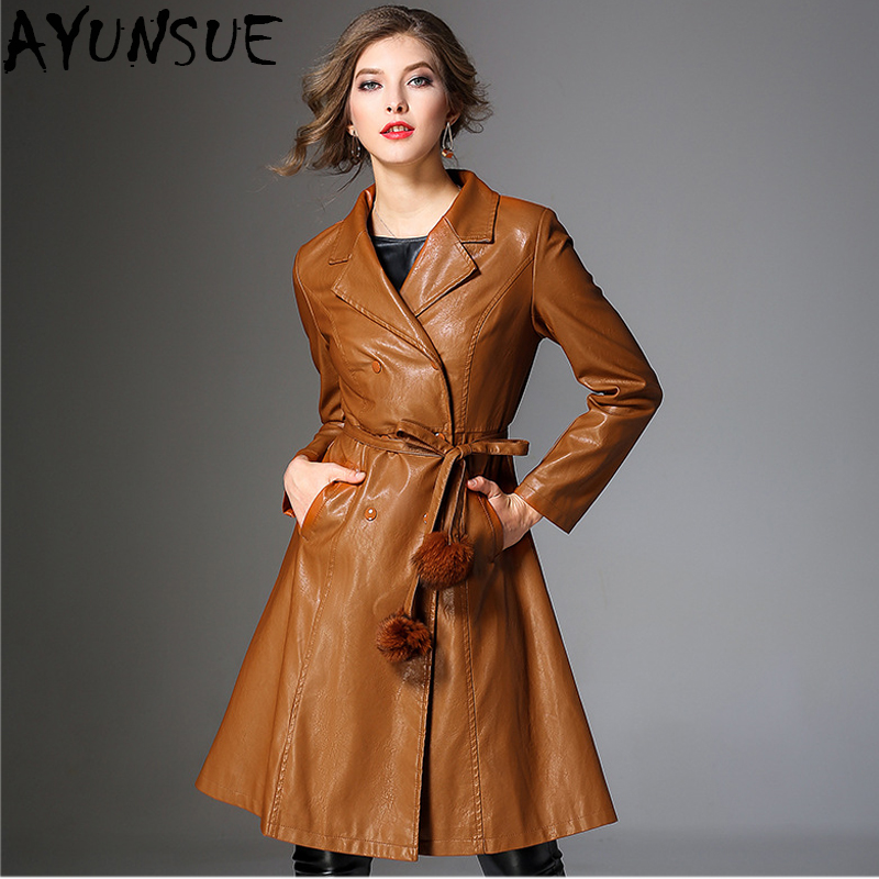 AYUNSUE European New Fashion 2018 Autumn Pu Leather Jacket Women Vintage Double Breasted Female Overcoat Lady Black Coats LX2001