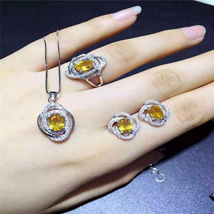 Huang Shuijing suits female ring pendant earrings live lucky atmosphere 925 silver inlayHuang Shuijing suits female ring pendant earrings live lucky atmosphere 925 silver inlay