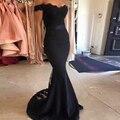 Elegante sereia vestidos dama de honra 2016 Vintage Black Lace cintas fora do ombro longo da dama de honra vestido apliques Tulle Train H-409