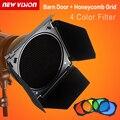 Godox BD-04 Barn Door + Rejilla Tipo Panal + 4 Filtros de Color para Reflector Estándar