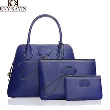 KNY KAVIN KK Brand 2017 3 pcs Soid Handbag Women Large Composite Bag PU Leather Shoulder Messenger Bags Female Small Coin Purse
