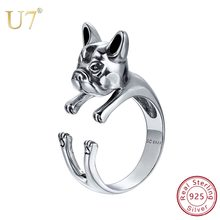 U7 925 Sterling Silver Cute Animal Bulldog / Labrador Retriever Dog Cat Rings Adjustable Finger Pet Puppy Ring Lovers Gift SC163(China)