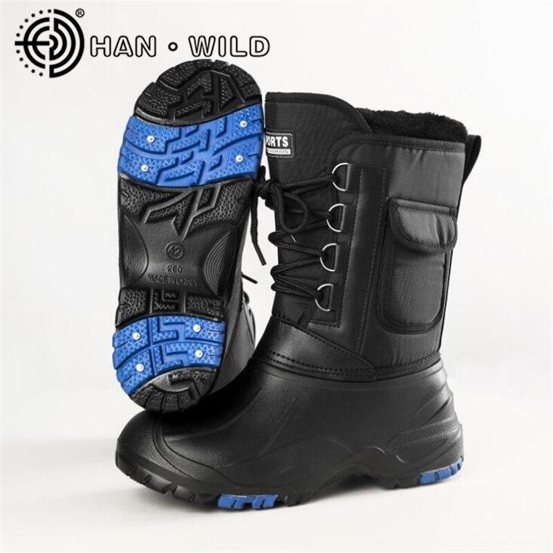 все цены на Steel Nail Non-slip Snow Boots Men Winter Warm Work Shoes 2018 Men Platform Mid-Calf Boots Waterproof Fishing Boots Skiing Shoes