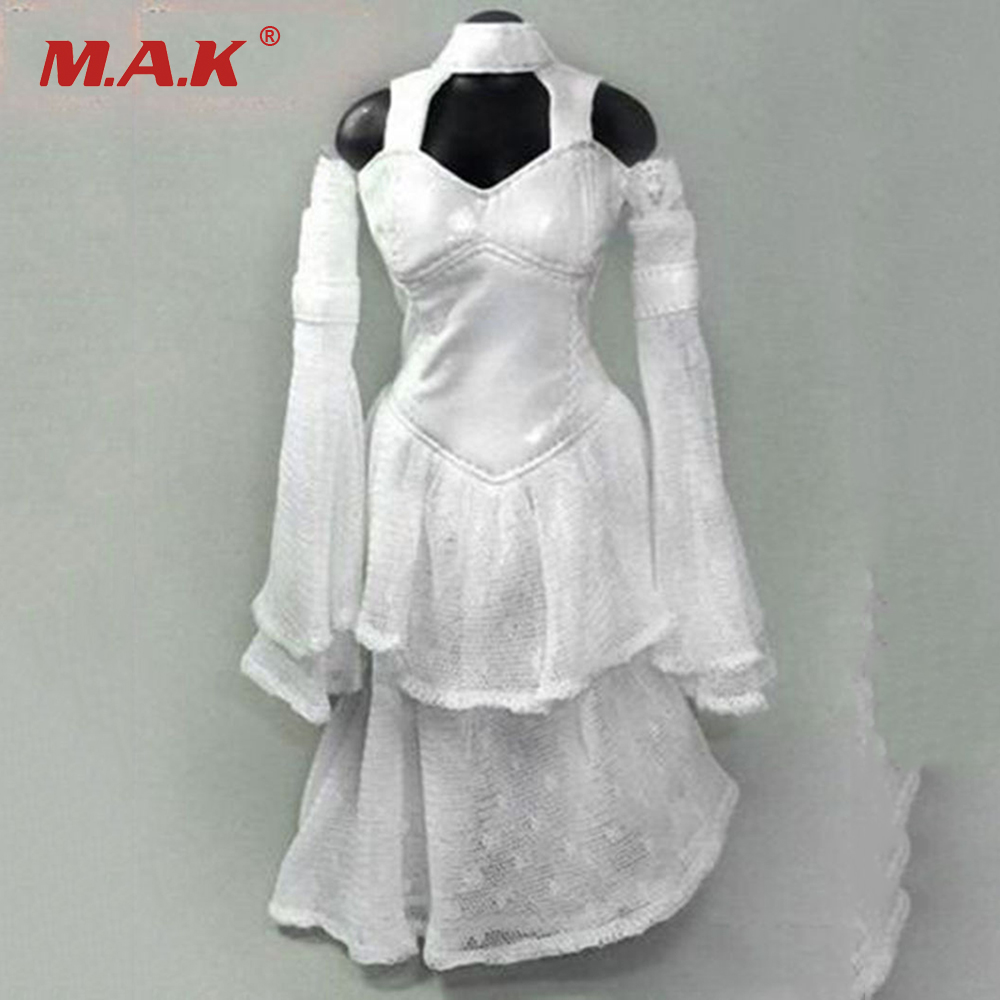 1/6 Scale Womens White Wedding Long Dress Clothes Models for 12 Inches Female Action Figures 1 6 scale womens japanese kimono clothes models for 12 inches female action figures bodies dolls accessories kimono belt and soc