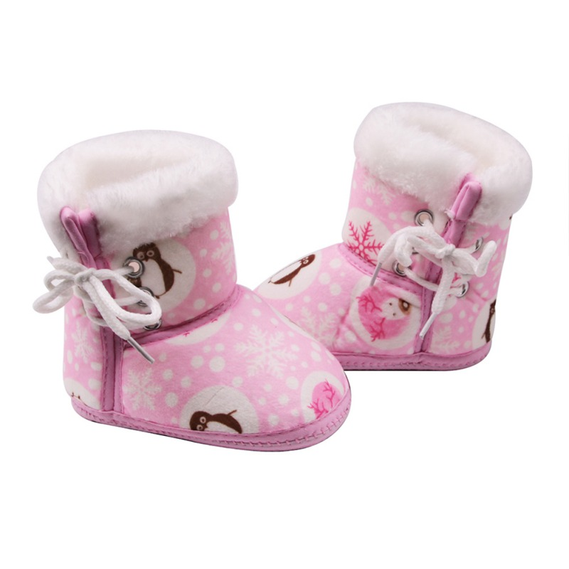 Lights & Lighting Baby Winter Boots Baby Girl Boots Soft Warm Snowflake Penguin Print Tube Baby Side Tie Cotton Shoes
