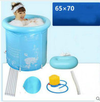 Thick Folding Tub Inflatable Bathtub Without Cover Adult Swimming Pool Children Tub 70x70cm