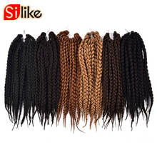 Silike 12 18 22 inch Box Braids Crochet Braids 12 Strands Synthetic Burgundy Crochet Hair Extension for Black Women 1pack/lot