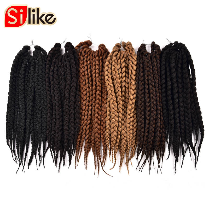 Silike 12 18 22 inch Box Braids Crochet Braids 12 Strands 3X Synthetic Burgundy Crochet Hair Extension for Black Women 1pack/lot