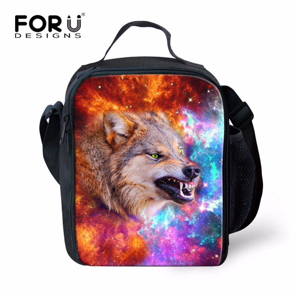 FORUDESIGNS Personalized Girls Boys Animal Wolf Lunch Bag Printing Office Women Men Insulated Lunchbag Insulated Kids Lunch Box