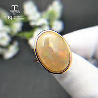 TBJ,Simple natural yellow color 7.4ct big opal Ring 925 sterling silver fine jewelry for women fine jewelry nice gift for wife