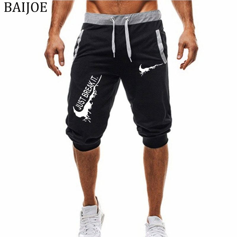 New Fashion Summer Leisure Men Knee Length Shorts Color Patchwork JUST BREAK IT Joggers Short Sweatpants Man Bermuda Shorts(China)