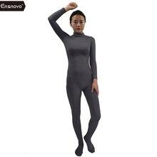 Ensnovo Body Suits for Women Long Sleeve Turtleneck Unitard Lycra Bodysuit Nylon Custom Skin Footed Costumes Full Body Tights
