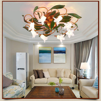 Glass Flower Green Leaves Circular Ceiling Lights American Garden Simple Artistic Ceiling Lighting Living Room Art Deco Lamp