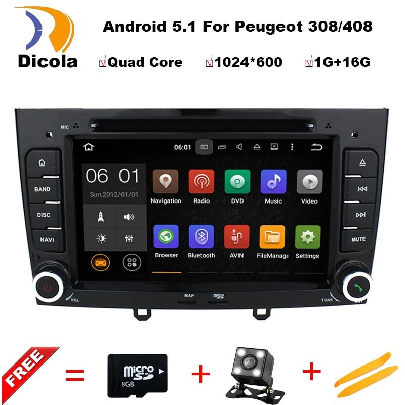 imágenes para Android 5.11 Estéreo de Navegación de DVD Especial Del Coche para Peugeot 408 y 308 gris con GPS RDS IPOD 3G SWC Retrovisor tarjeta Libre de 8 GB Mapa