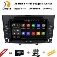 Android 5.11 Estéreo de Navegación de DVD Especial Del Coche para Peugeot 408 y 308 gris con GPS RDS IPOD 3G SWC Retrovisor tarjeta Libre de 8 GB Mapa