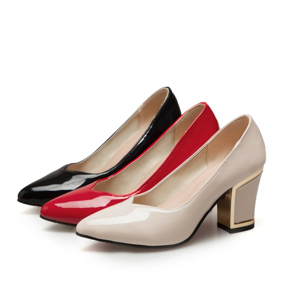 Bombas rojo La Gran Beige Mujer 2019 Calzado Tacones Bonjomarisa Mujeres Pu De 33 Primavera Tamaño Zapatos 43 Alta Oficina Superficial Negro negro Amplia BxqwPR5I