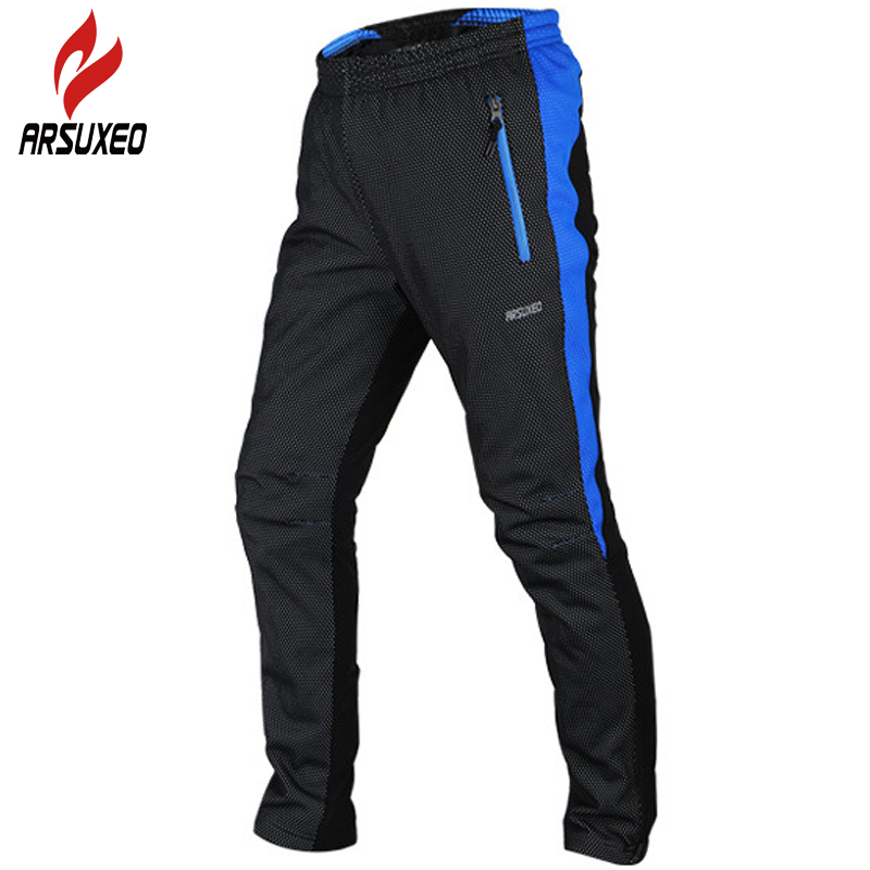 ARSUXEO Cycling Pants 2017 Men Thermal MTB Bike Bicycle Motocross Downhill Windproof Waterproof Pad Pants Trousers Clothing 14AA arsuxeo cycling short pants
