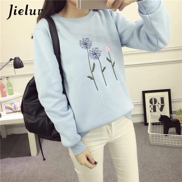 Jielur Dandelion Embroidery Fleece Sudaderas Mujer 2018 New M-XXL White Blue Basic Chic Hoodies Women Kawaii Harajuku Sweatshirt