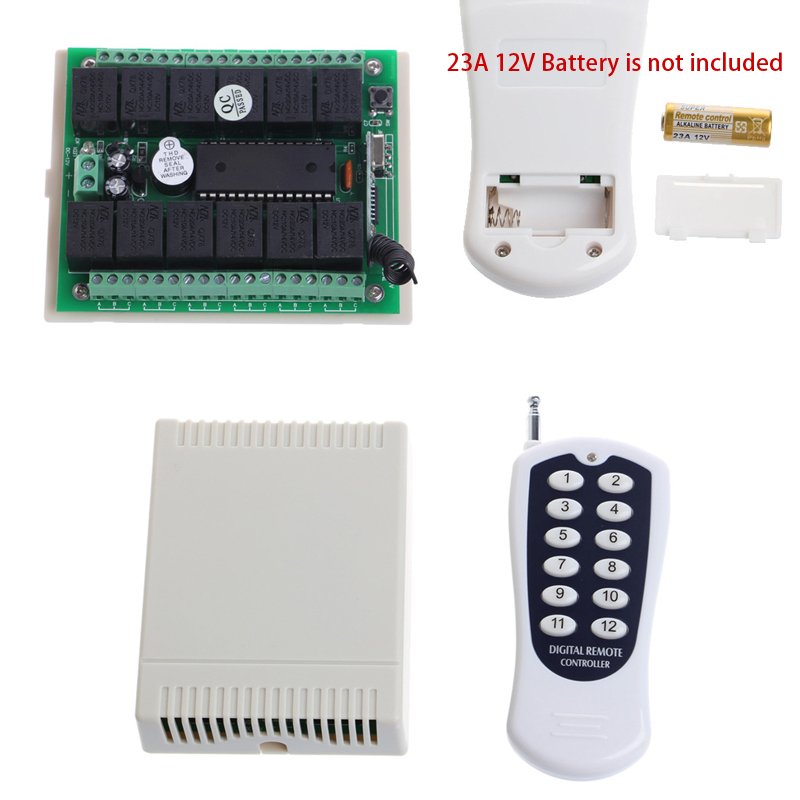 12V 10A Relay 12Ch Wireless Programmable RF Remote Control Transmitter Receiver