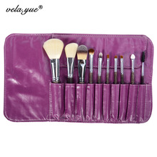 Professional Makeup Brush Set 10 Pieces Soft Hair Beauty Tools Kit with Violet Case