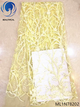 Beautifical Yellow lace fabric quality with sequins guangzhou wholesale 5 yards/lot for party ML1N782