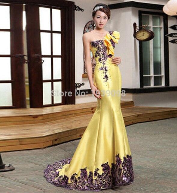 Бесплатная доставка новое поступление длинные желтые вечерние платья для женщин 2015 с свадебные вечерние платья одно плечо русалка пром ну вечеринку