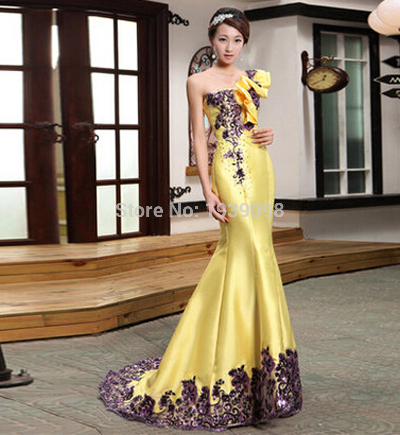 Free shipping new arrival long yellow evening dresses for for Wedding and evening dresses
