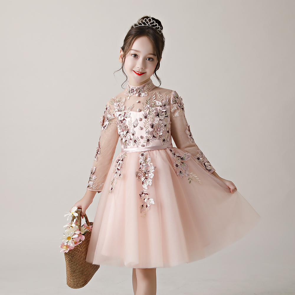 Pink Long Sleeves Embroidery Short   Flowers     Girl   Appliqued Pageant   Dresses   For   Girls   First Communion   Dresses   Kids