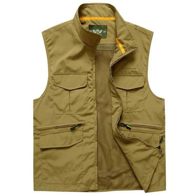 Army Green, Kaki Kleur Man Quick Dry Mesh Multi-tas Fotografie Jacht Reclame Vissen Vest Afneembare Vest Maat M-xxxl