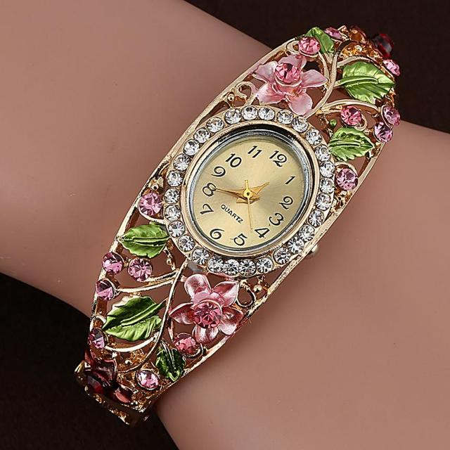 Bangle Watches Gold Plated Crystal Flower Women Bracelet Dress Quartz Watch Luxu