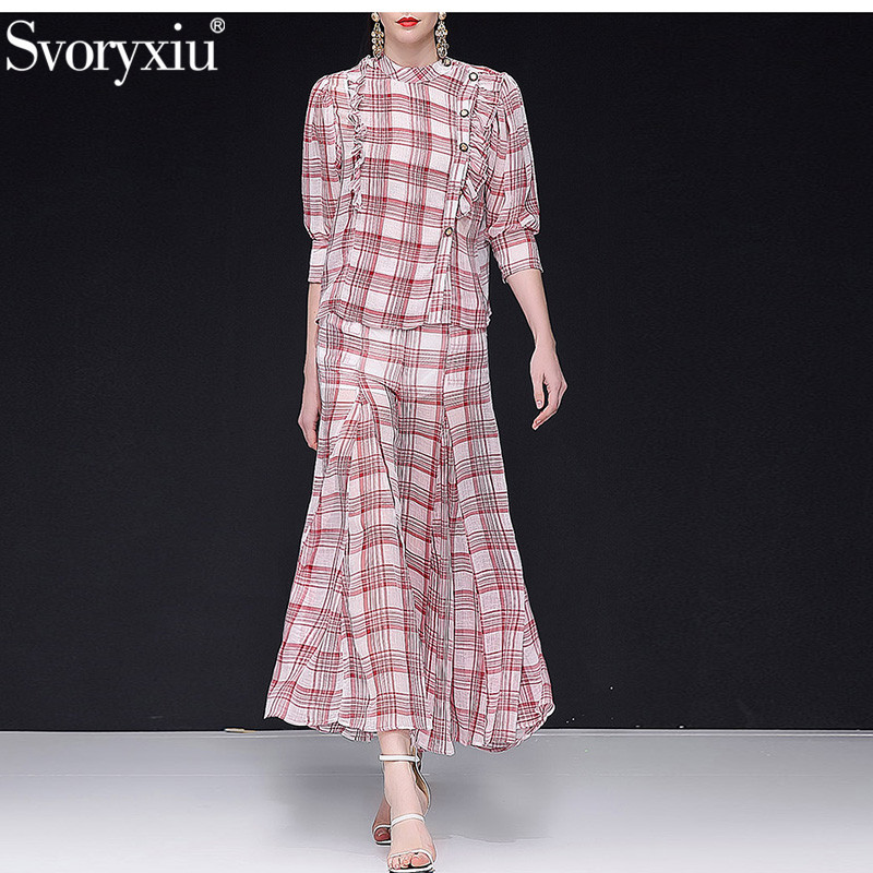 Svoryxiu 2019 Designer Summer Casual Wide Leg Pants Suits Women's Elegant Vintage lattice Printed Office Lady Two Piece Set