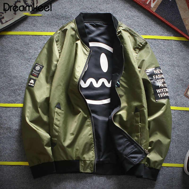 2019 スボンバージャケットコートジープメンズパイロットパッチグリーン両側着用薄型パイロットウインドブレーカーヒップホップメンズジャケット Y1