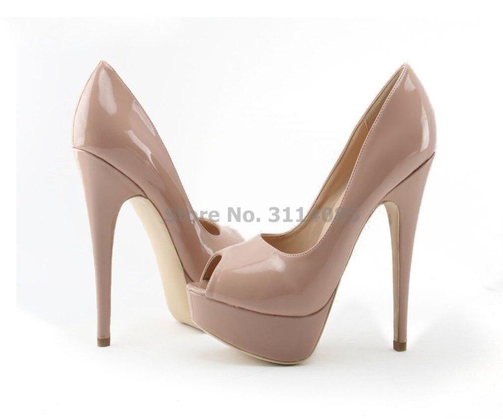 Style classique Noble dames noir Nude en cuir miroir plate-forme pompes 14 cm ciel chaussures à talons hauts bout ouvert chaussures à talons hauts - 4