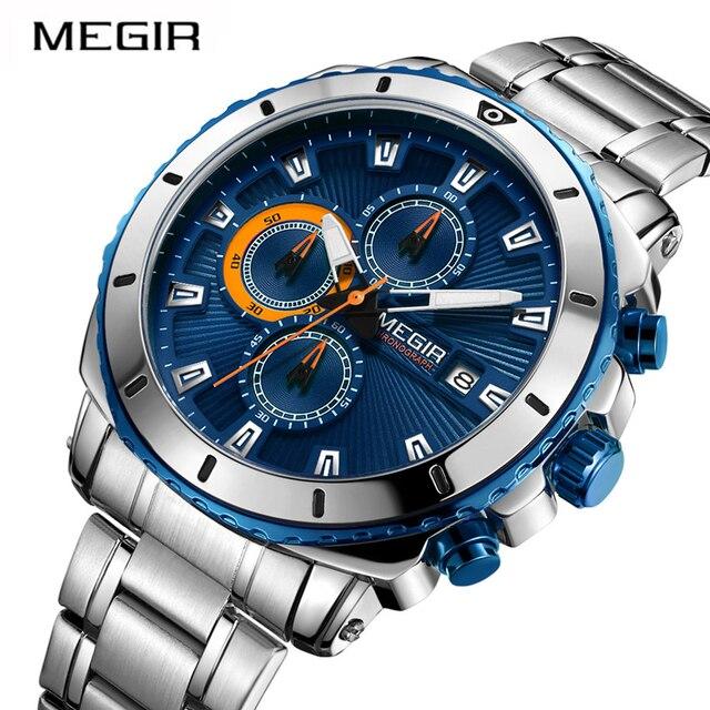 23cbd930e52 Men s Business Watch Top Brand MEGIR 2075 Luxury Army Military Chronogra  Clock Male 3-Eye Quartz Wrist Watches Relogio Masculino