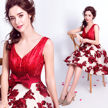 2017 new arrival stock maternity plus size bridal gown evening dress red flowers short a line satin princess party gala hot 5908