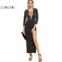 COLROVE Designer Dress Womens Long Dresses Elegant Korean Style Women Black Lace Up Plunge Neck High