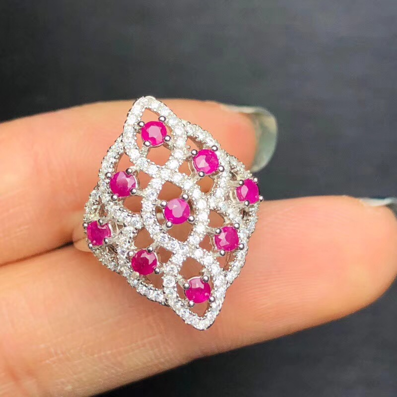 Uloveido 925 Silver Natural Ruby Ring Luxurious Beautiful Pink Gemstone Wedding Engagement Jewelry Birthstone Ring 20% FJ312