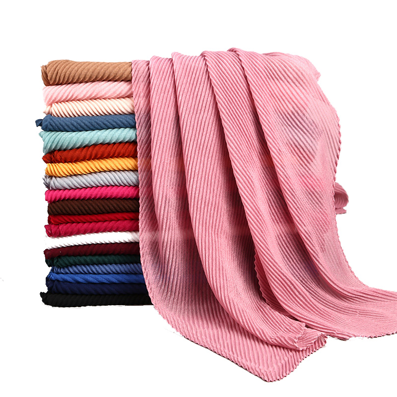 Ladies solid pleated ripple line hijab crinckle viscose soft touch head scarf
