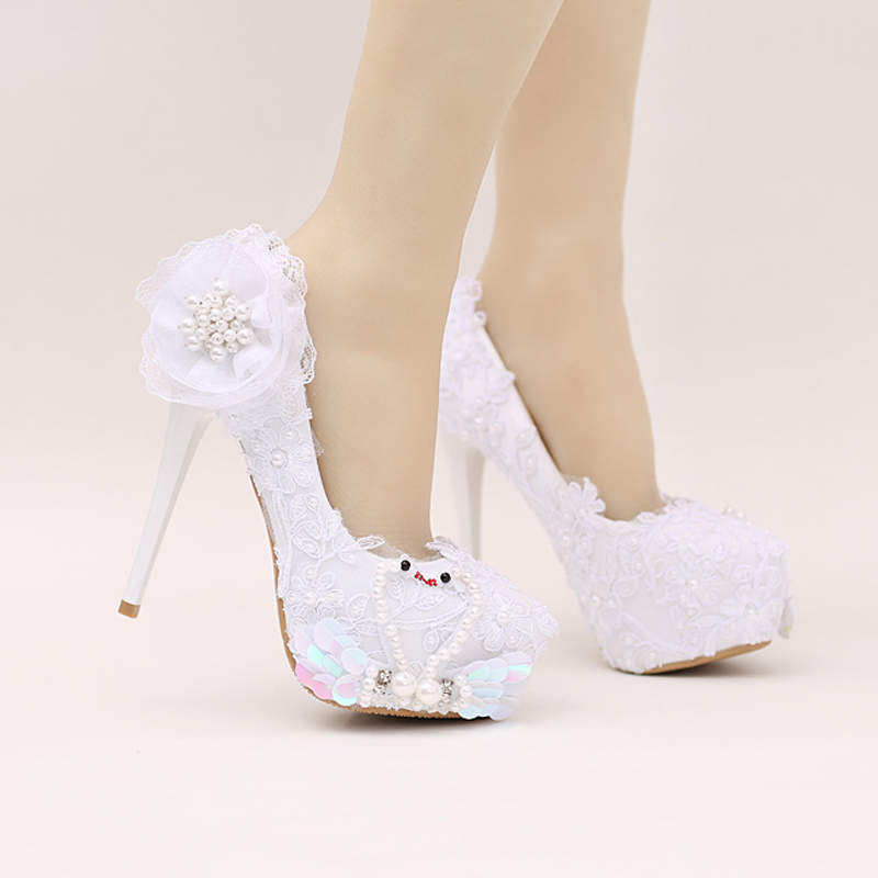 Bridal Shoes White Color Glitter Wedding Party Shoes Beautiful Lace Flower Wedding High Heels Birthday Party Prom Princess Pumps велосипед dewolf trx 150 2017