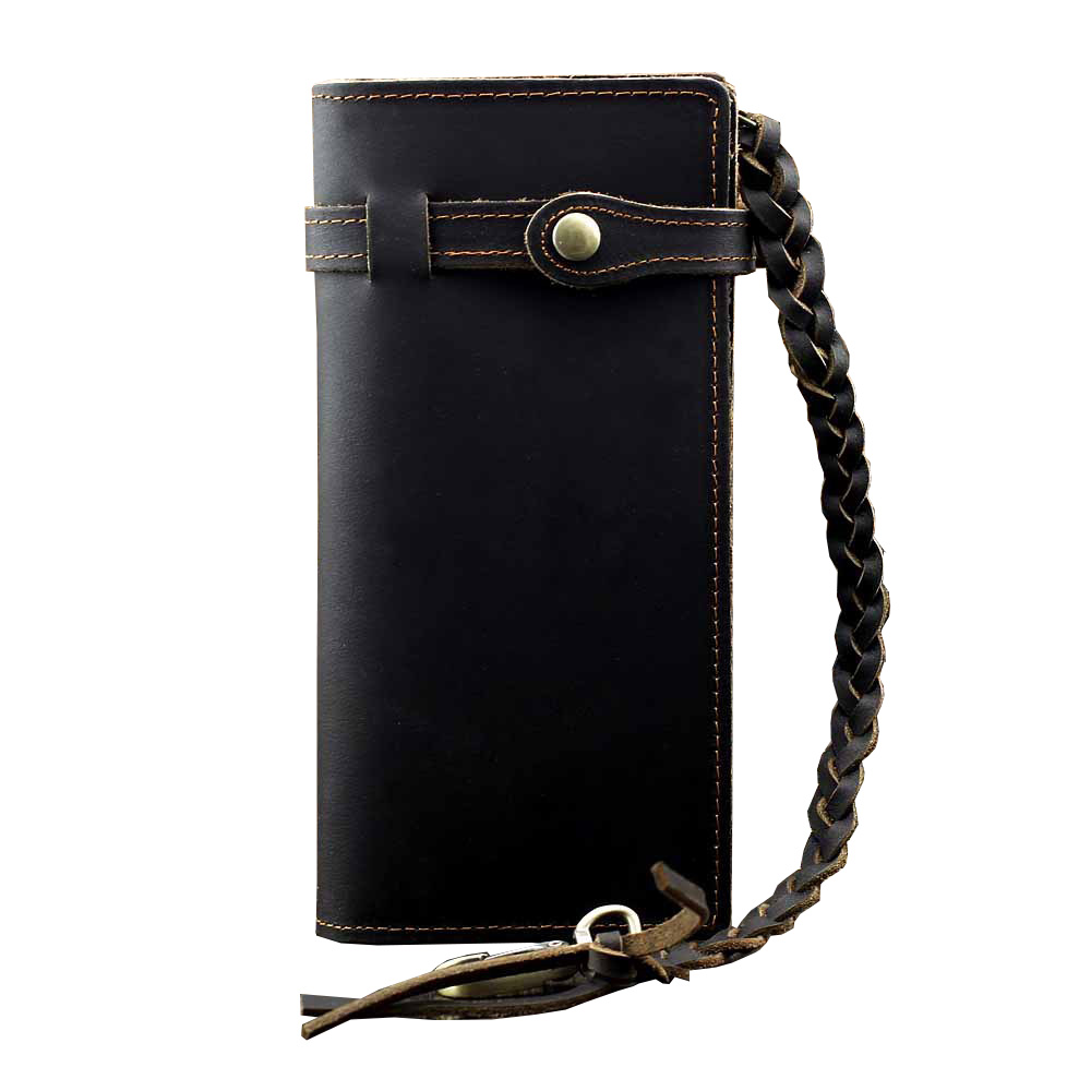 Vintage Men Leather Wallet Classic Male Wristlet Long Clutch Purse Leather Chain Bag for Card Holder Boy Coin Wallet