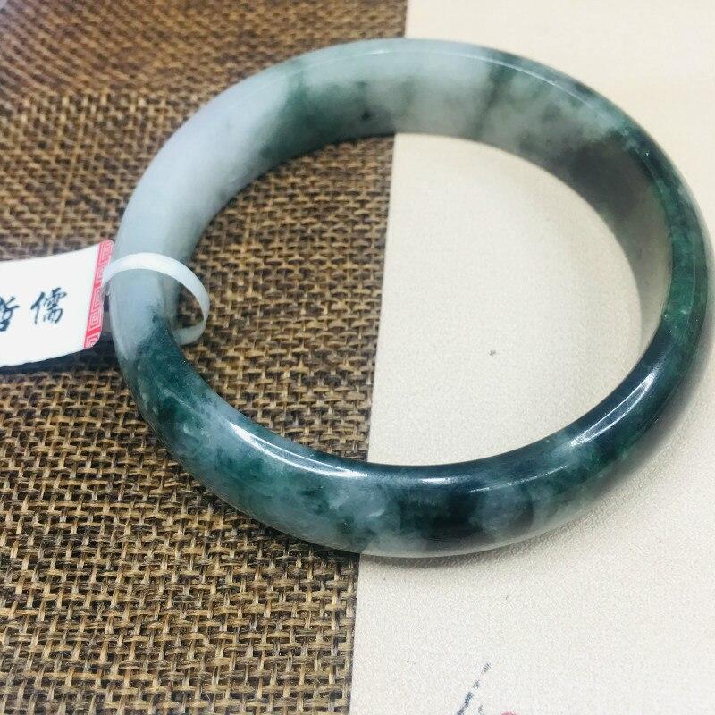 Zheru Jewelry Natural Jadeite Bracelet Natural Black Two-tone 54-62mm Female Gift A Class A National CertificateZheru Jewelry Natural Jadeite Bracelet Natural Black Two-tone 54-62mm Female Gift A Class A National Certificate