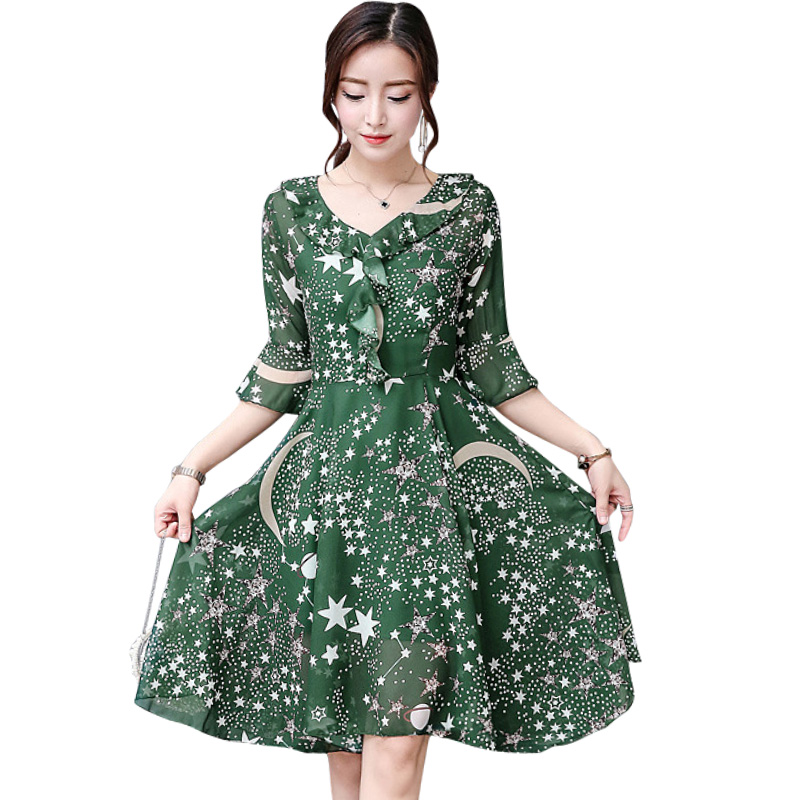 Dress female summer women 2018 new chiffon printed dress Korean version of the thin a word Hong taste fresh dress vestidos