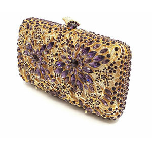 Hollow Out gold Evening Socialite Crystal Clutch  2